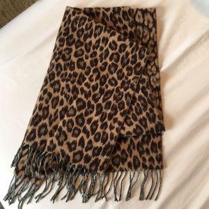 J.Crew wool blend scarf, animal print with tassels